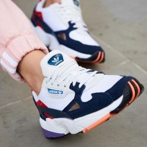 Adidas Falcon Sneakers in White and Navy